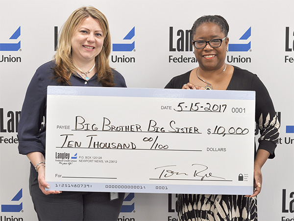 Langley VP of Commercial Lending Natasha Merz (L) poses with BBBSGVP CEO Ayanna King (R)