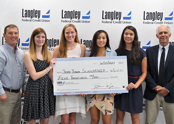 (Left-Right) Langley President/CEO Tom Ryan, Corbin Hawk, Christine Kemmerly, Alyssa Costello, 