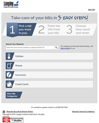 Online Bill Pay Langley Federal Credit Union