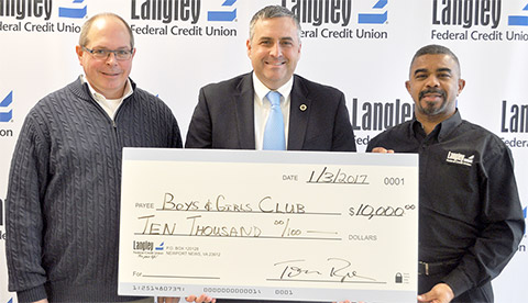 Langley's Fred Hagerman (left), Boys & Girls Clubs President & CEO Harold Smith (center) and Langley's Gary Hunter (right)