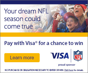 Your dream NFL season could come true. Pay with Visa for a chance to win. Click to learn more.